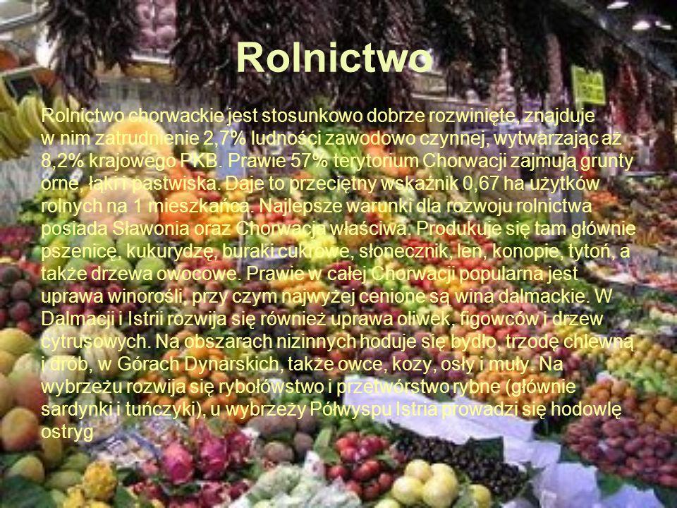 Rolnictwo Rolnictwo chorwackie jest stosunkowo dobrze rozwinięte, znajduje. w nim zatrudnienie 2,7% ludności zawodowo czynnej, wytwarzając aż.