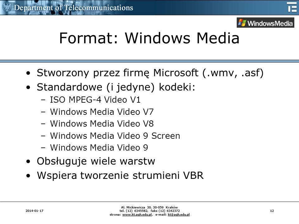 Format: Windows Media Stworzony przez firmę Microsoft (.wmv, .asf)