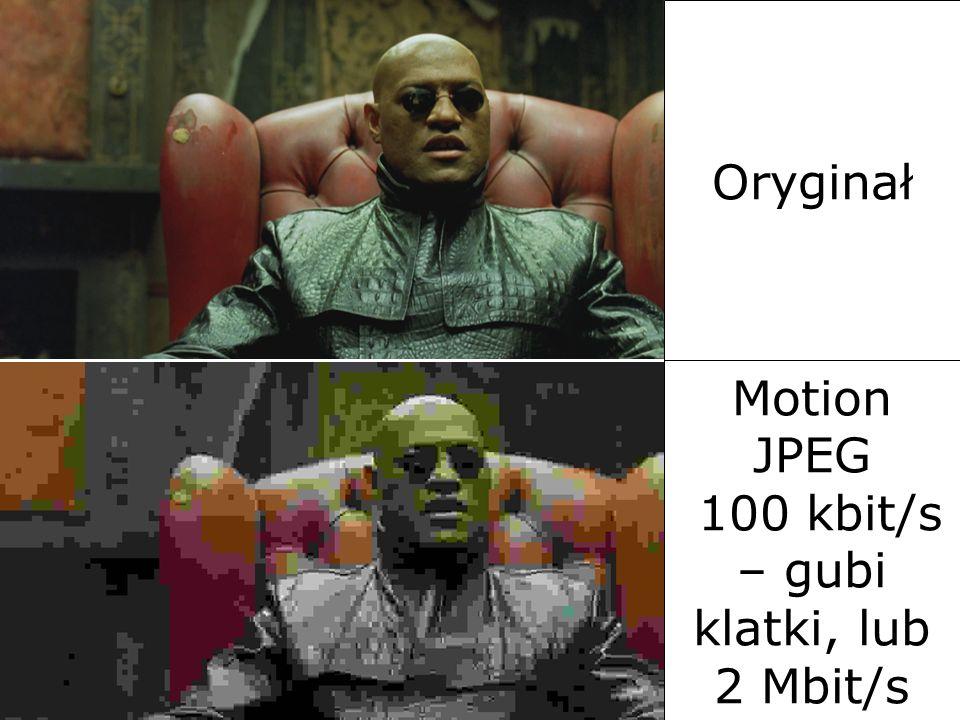 Motion JPEG 100 kbit/s – gubi klatki, lub 2 Mbit/s