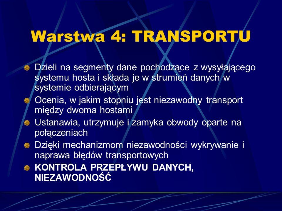 Warstwa 4: TRANSPORTU Dzieli na segmenty dane pochodzące z wysyłającego systemu hosta i składa je w strumień danych w systemie odbierającym.