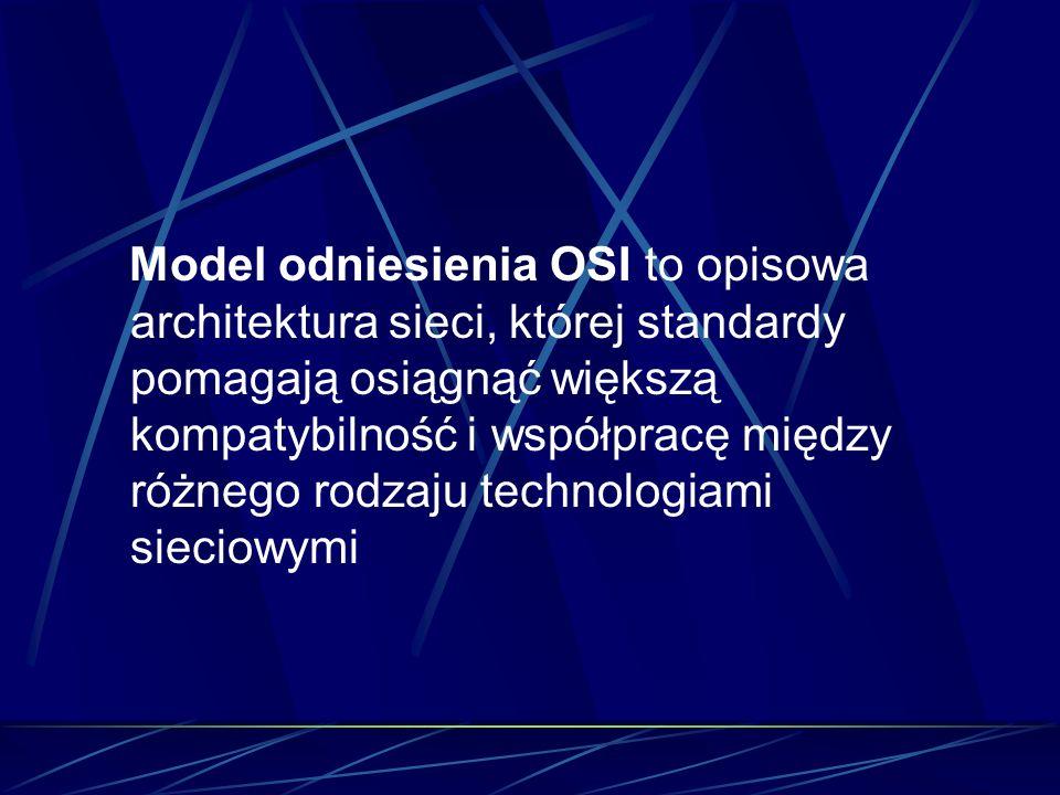 Model odniesienia OSI to opisowa architektura sieci, której standardy pomagają osiągnąć większą kompatybilność i współpracę między różnego rodzaju technologiami sieciowymi