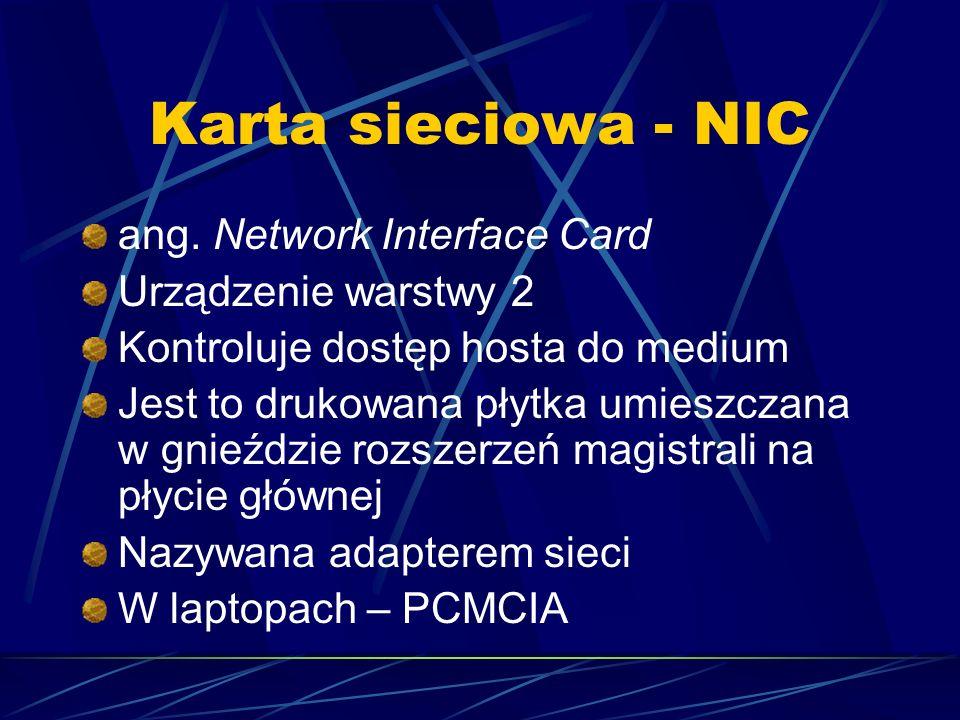 Karta sieciowa - NIC ang. Network Interface Card Urządzenie warstwy 2