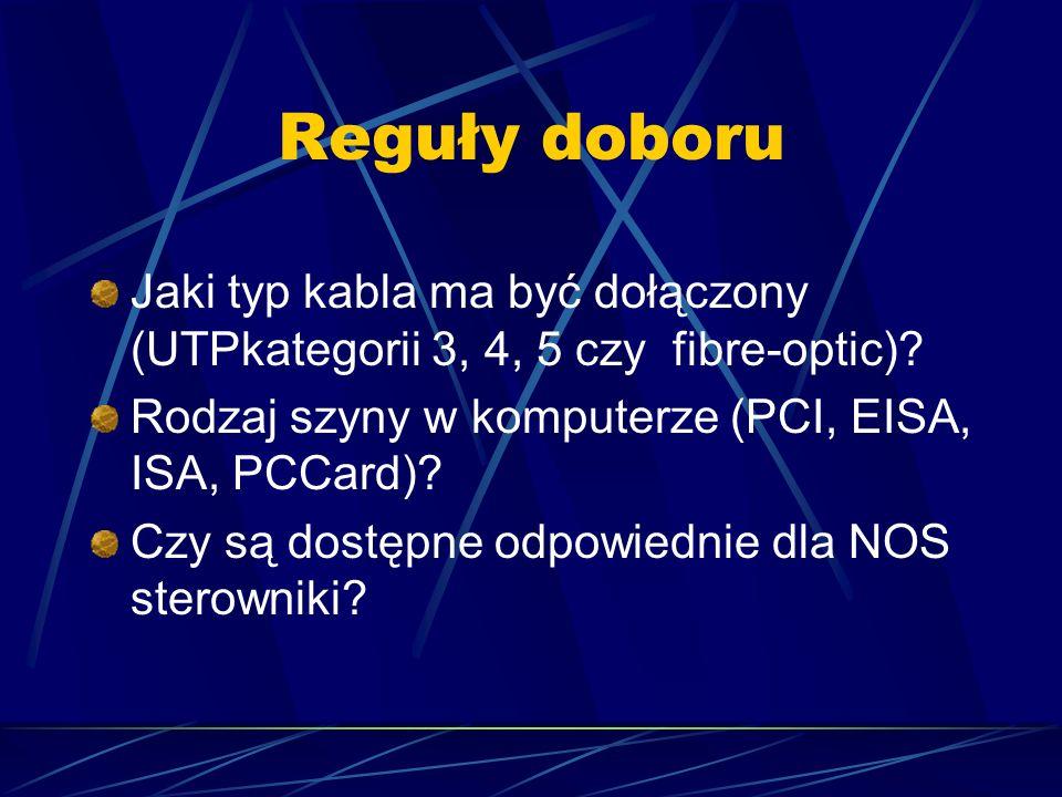 Reguły doboru Jaki typ kabla ma być dołączony (UTPkategorii 3, 4, 5 czy fibre-optic) Rodzaj szyny w komputerze (PCI, EISA, ISA, PCCard)