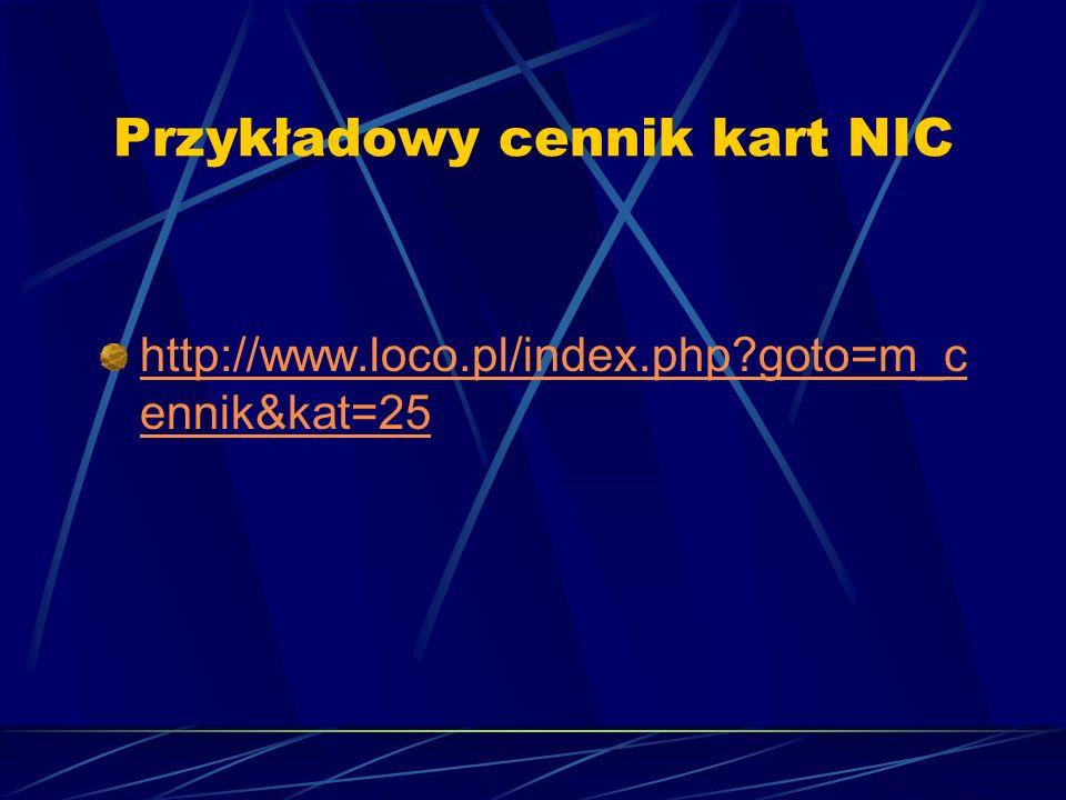 Przykładowy cennik kart NIC