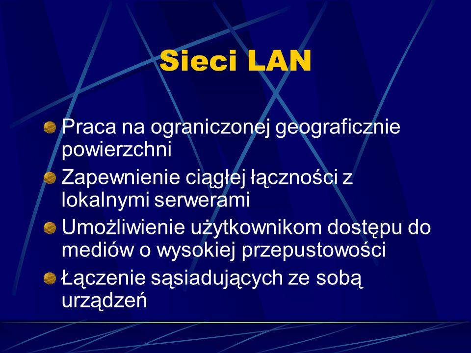 Sieci LAN Praca na ograniczonej geograficznie powierzchni