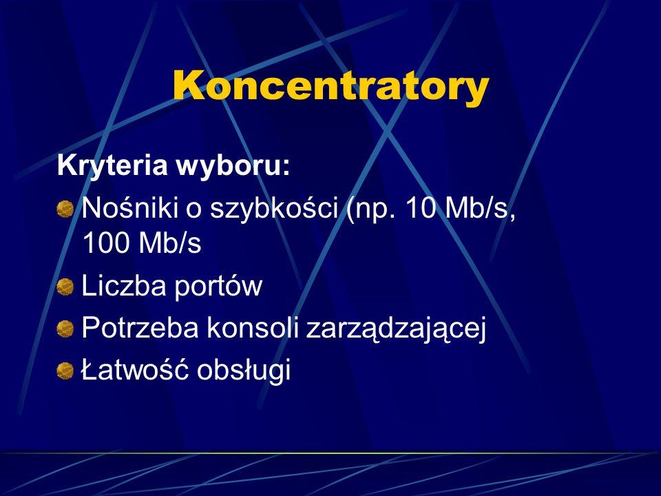 Koncentratory Kryteria wyboru: