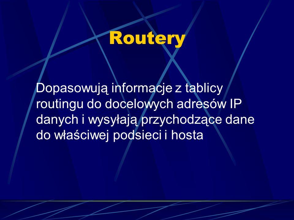 Routery Dopasowują informacje z tablicy routingu do docelowych adresów IP danych i wysyłają przychodzące dane do właściwej podsieci i hosta.