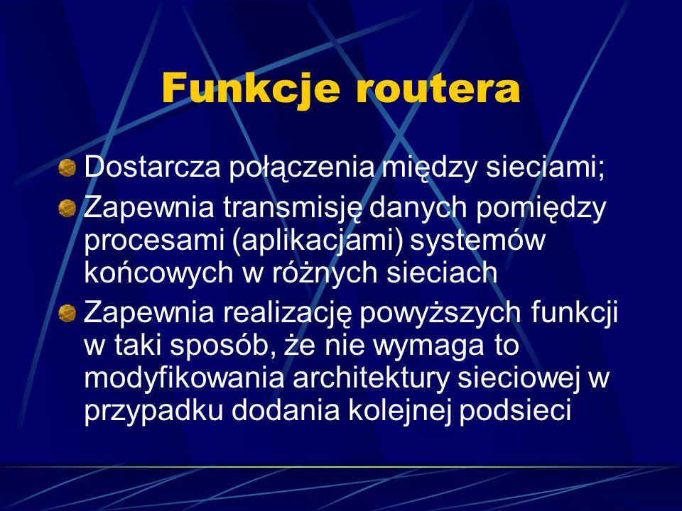 Funkcje routera Dostarcza połączenia między sieciami;