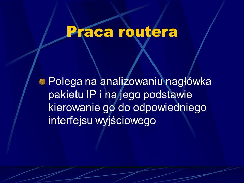 Praca routera Polega na analizowaniu nagłówka pakietu IP i na jego podstawie kierowanie go do odpowiedniego interfejsu wyjściowego.