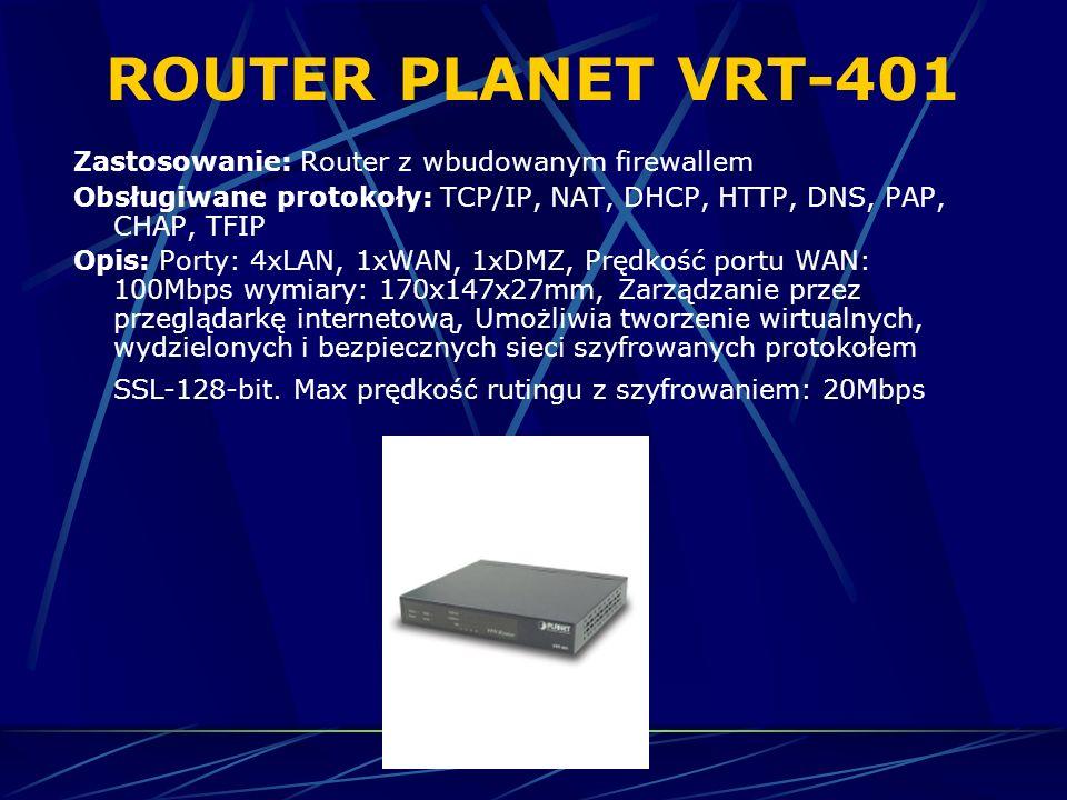 ROUTER PLANET VRT-401 Zastosowanie: Router z wbudowanym firewallem