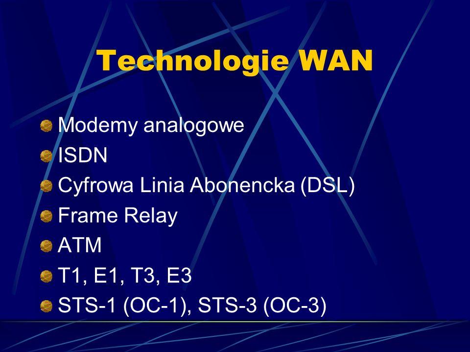 Technologie WAN Modemy analogowe ISDN Cyfrowa Linia Abonencka (DSL)