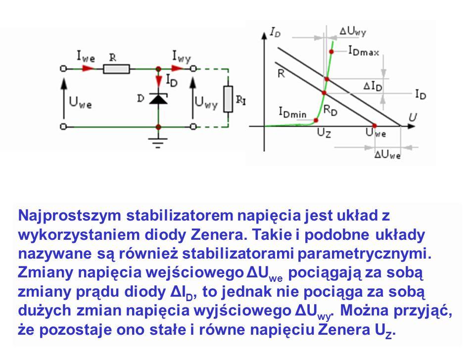 Najprostszym stabilizatorem napięcia jest układ z wykorzystaniem diody Zenera.