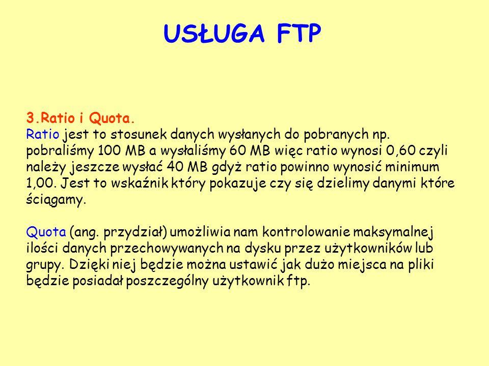 USŁUGA FTP 3.Ratio i Quota.
