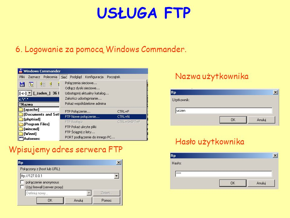 USŁUGA FTP 6. Logowanie za pomocą Windows Commander. Nazwa użytkownika