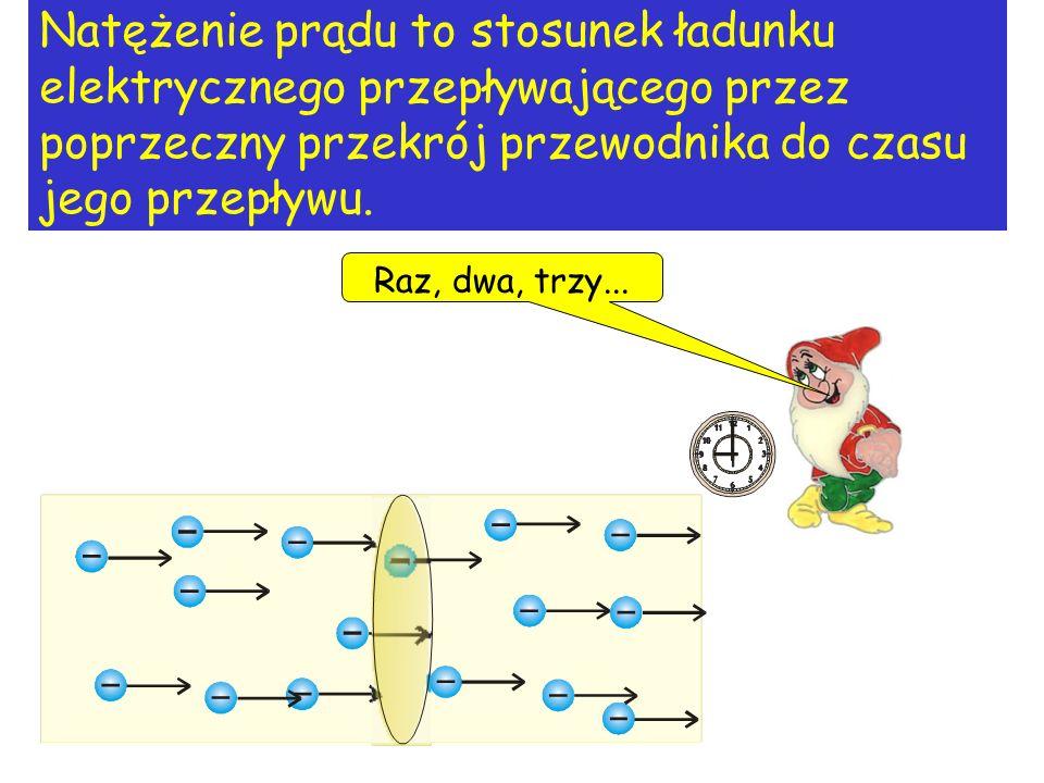 Natężenie prądu to stosunek ładunku elektrycznego przepływającego przez poprzeczny przekrój przewodnika do czasu jego przepływu.