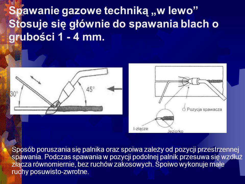"""Spawanie gazowe techniką """"w lewo Stosuje się głównie do spawania blach o grubości 1 - 4 mm."""