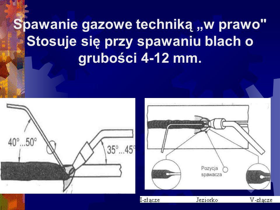 """Spawanie gazowe techniką """"w prawo Stosuje się przy spawaniu blach o grubości 4-12 mm."""