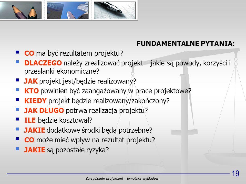 Zarządzanie projektami – tematyka wykładów