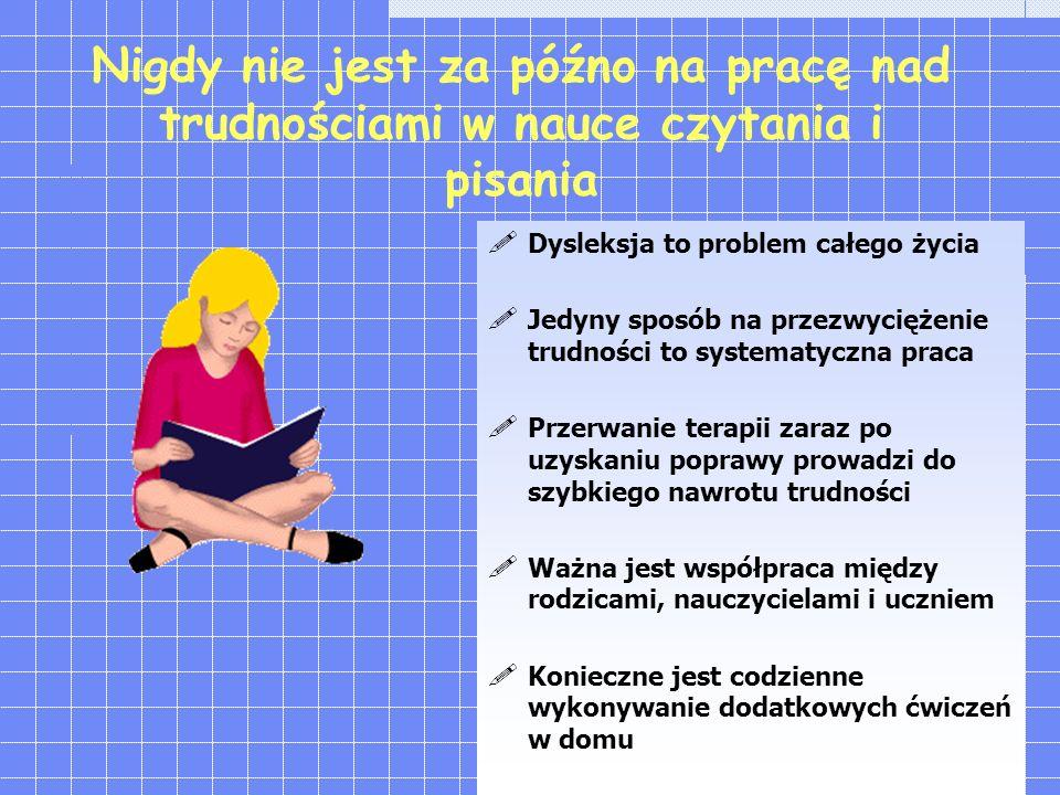 Nigdy nie jest za późno na pracę nad trudnościami w nauce czytania i pisania