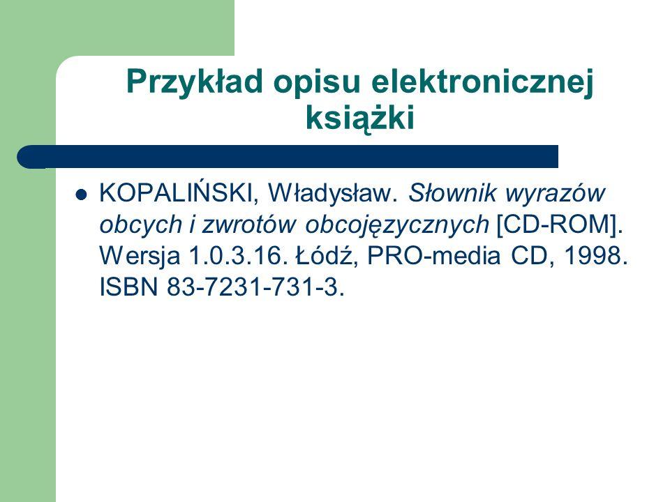 Przykład opisu elektronicznej książki