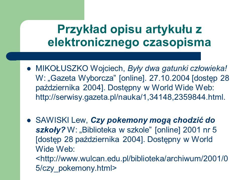 Przykład opisu artykułu z elektronicznego czasopisma