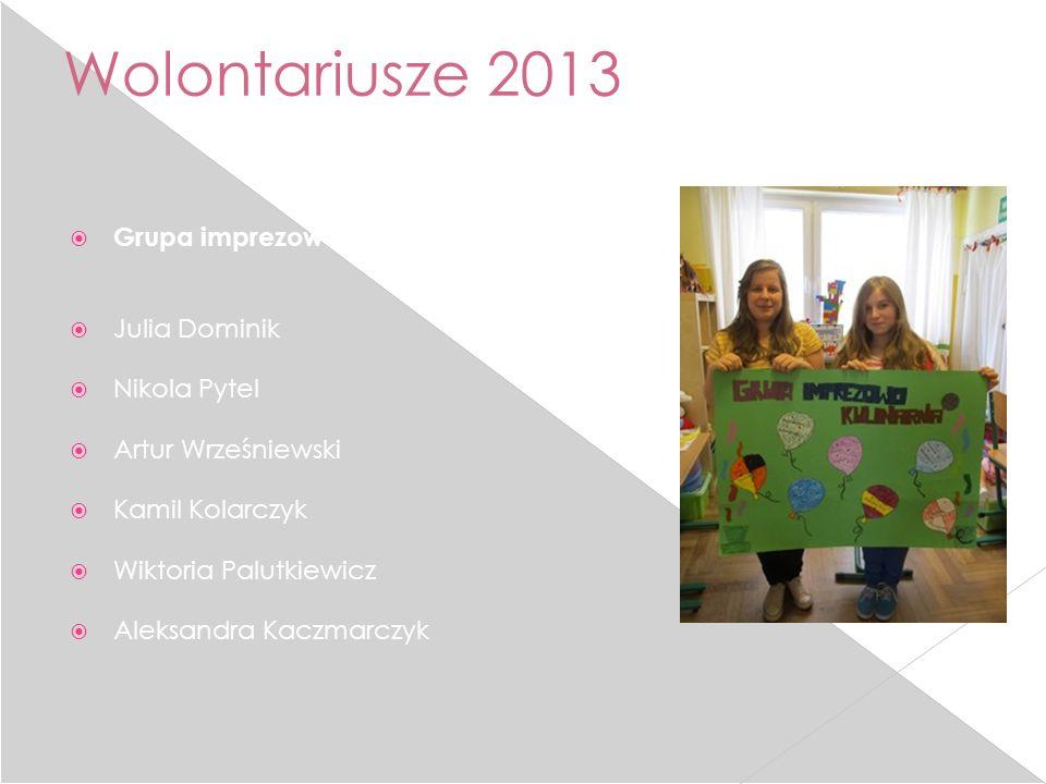Wolontariusze 2013 Grupa imprezowo-kulinarna: Julia Dominik