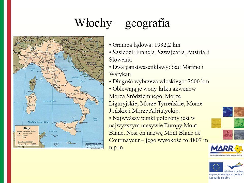 Włochy – geografia Granica lądowa: 1932,2 km