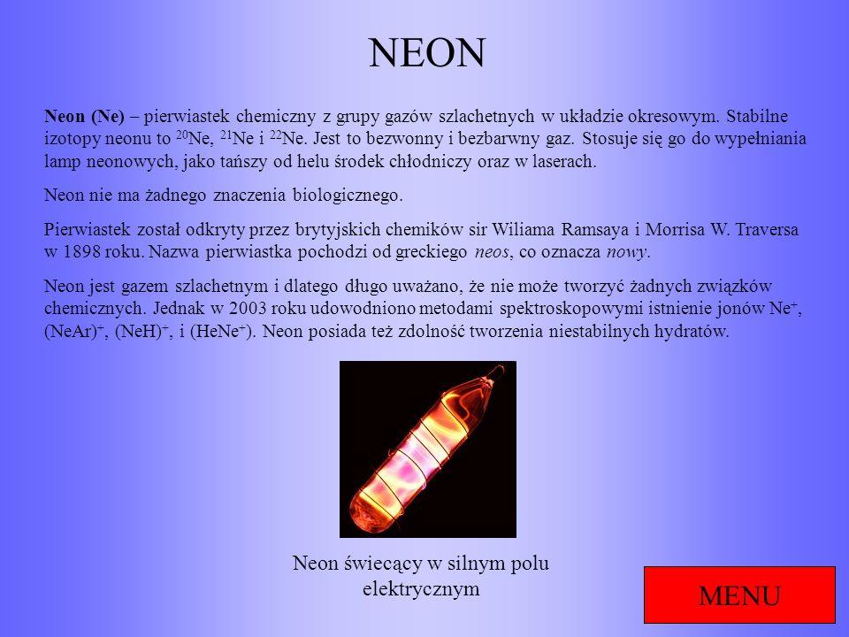 Neon świecący w silnym polu elektrycznym