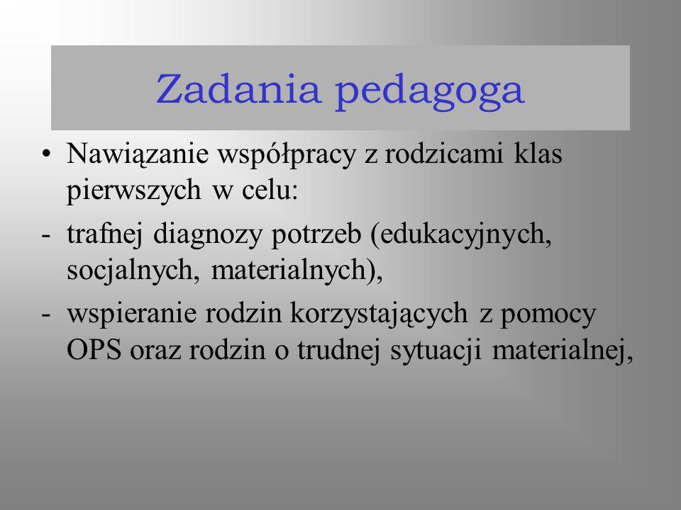 Zadania pedagoga Nawiązanie współpracy z rodzicami klas pierwszych w celu: trafnej diagnozy potrzeb (edukacyjnych, socjalnych, materialnych),