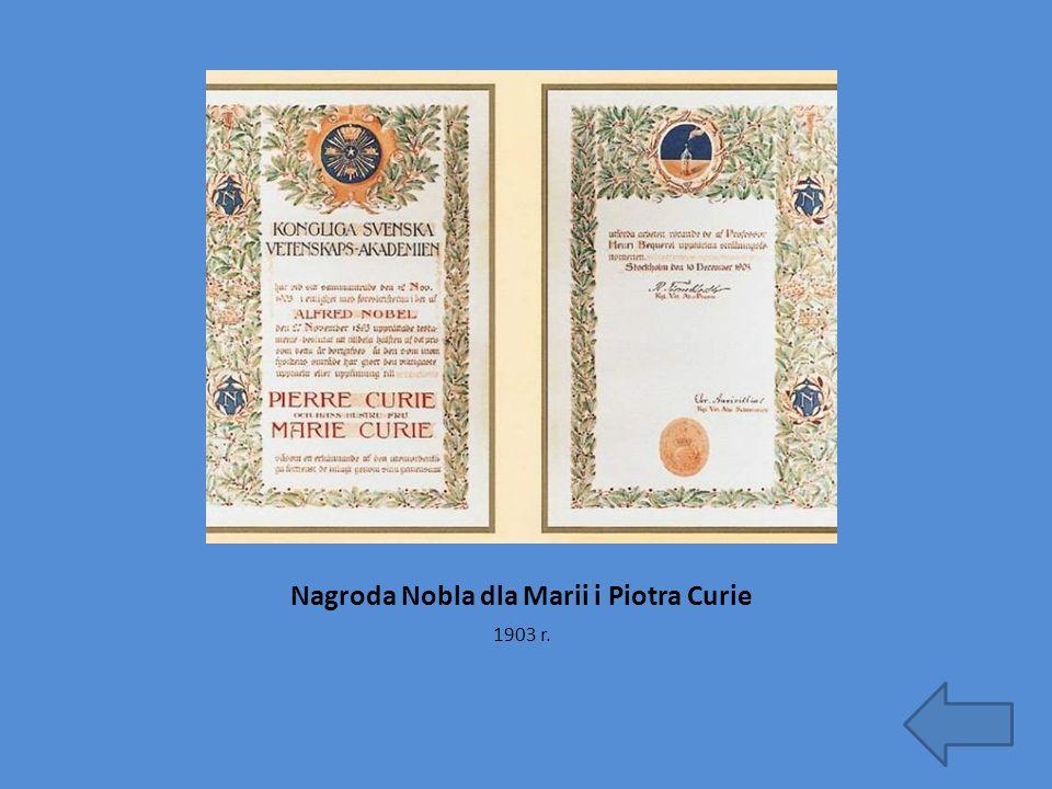 Nagroda Nobla dla Marii i Piotra Curie