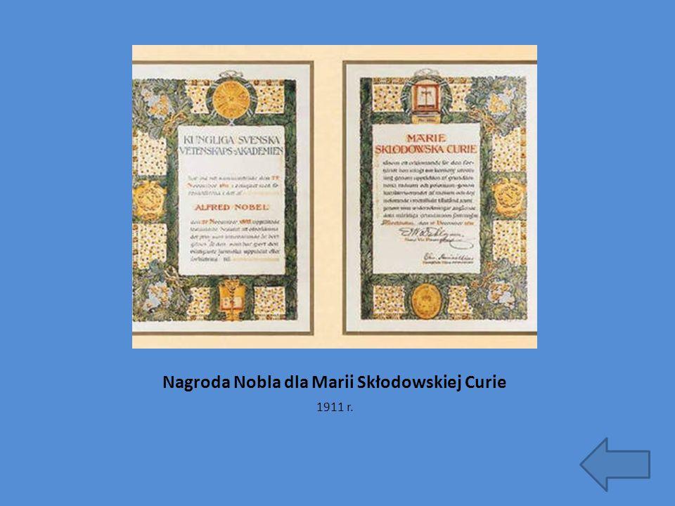 Nagroda Nobla dla Marii Skłodowskiej Curie