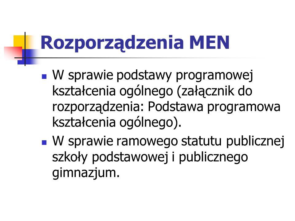 Rozporządzenia MENW sprawie podstawy programowej kształcenia ogólnego (załącznik do rozporządzenia: Podstawa programowa kształcenia ogólnego).