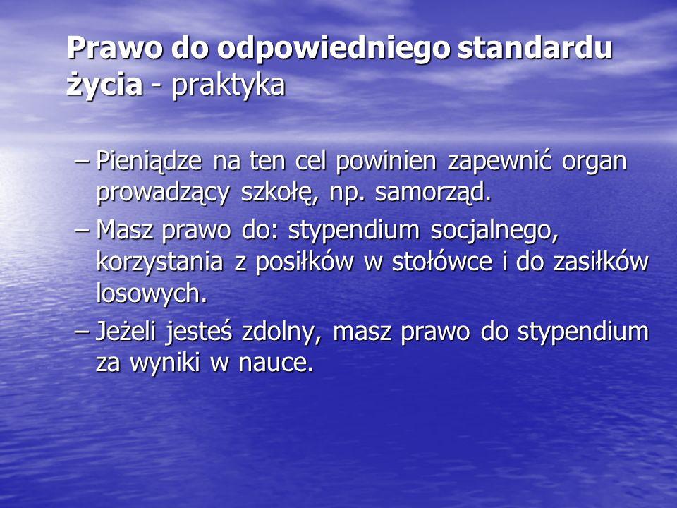 Prawo do odpowiedniego standardu życia - praktyka