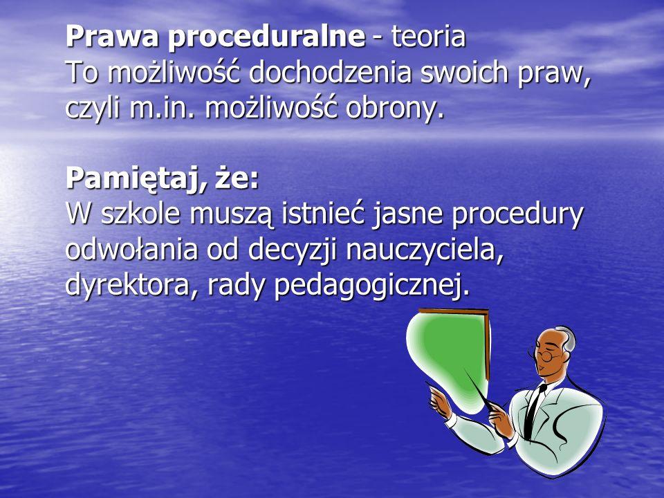 Prawa proceduralne - teoria To możliwość dochodzenia swoich praw, czyli m.in.