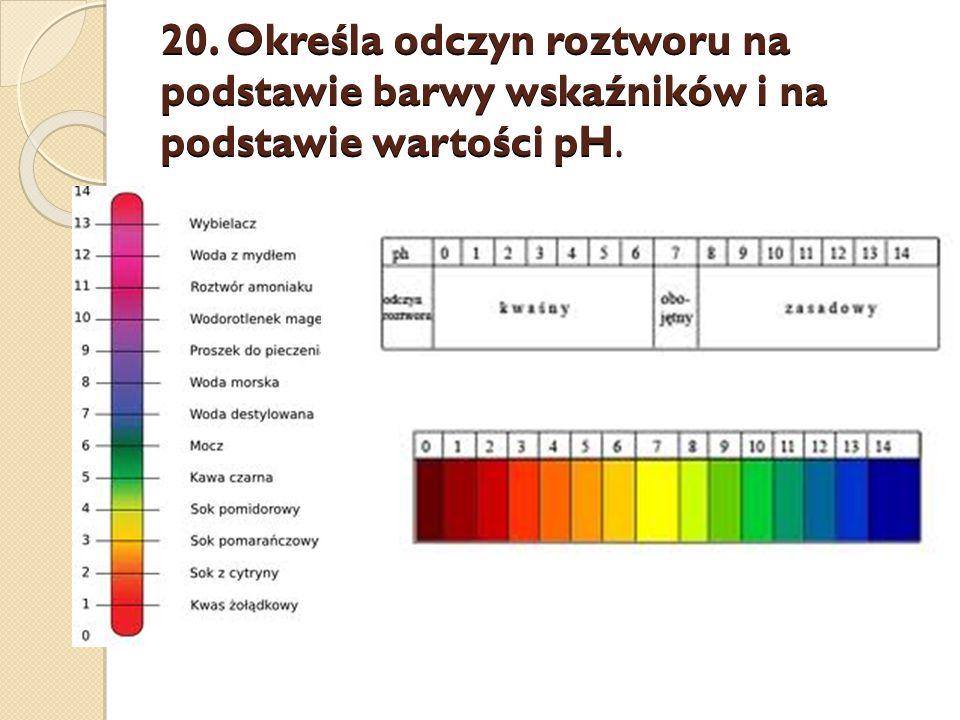 20. Określa odczyn roztworu na podstawie barwy wskaźników i na podstawie wartości pH.