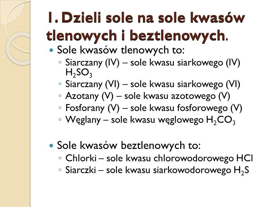 1. Dzieli sole na sole kwasów tlenowych i beztlenowych.