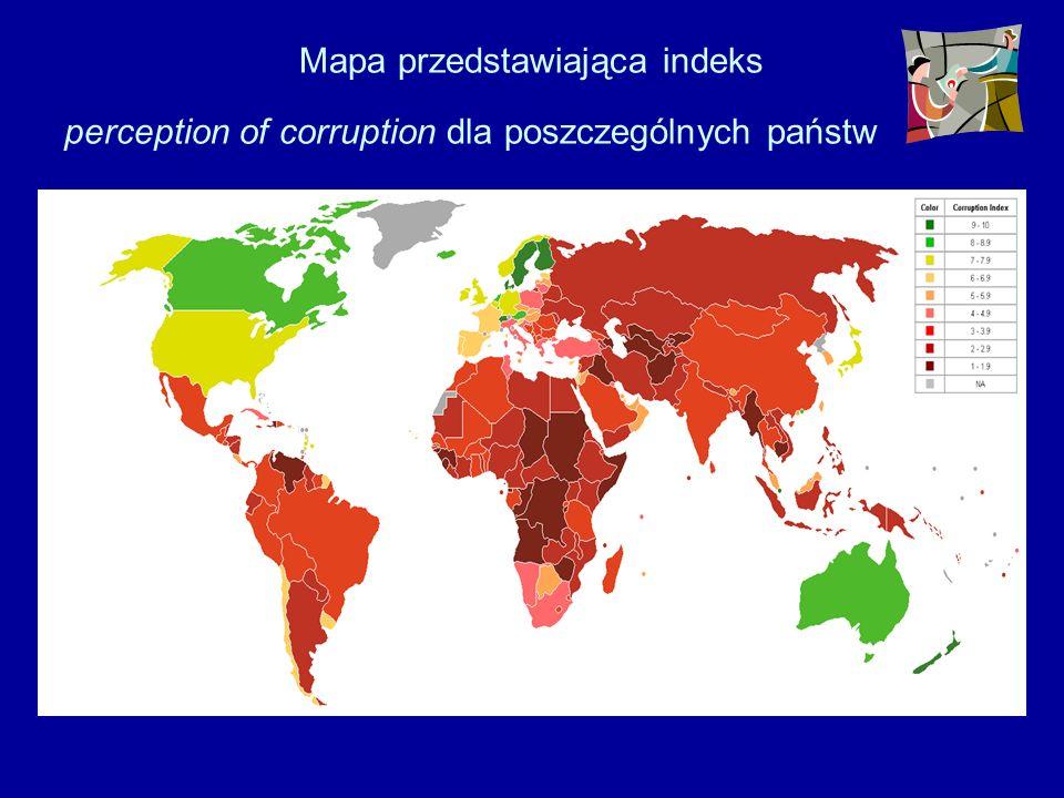 Mapa przedstawiająca indeks perception of corruption dla poszczególnych państw