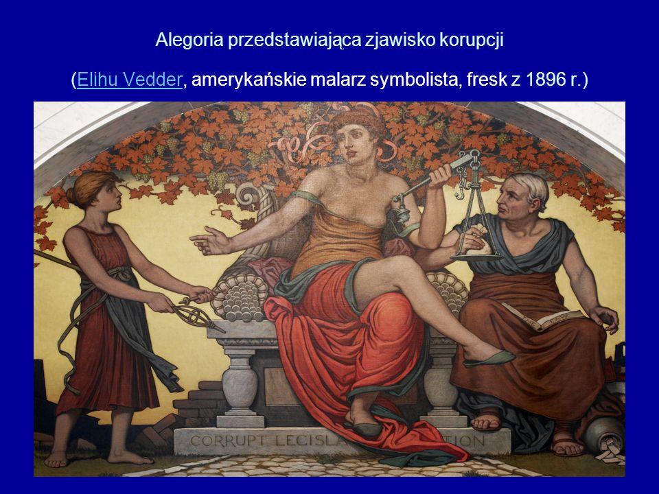 Alegoria przedstawiająca zjawisko korupcji (Elihu Vedder, amerykańskie malarz symbolista, fresk z 1896 r.)