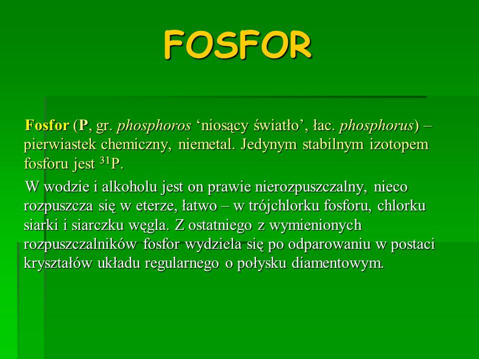 FOSFOR Fosfor (P, gr. phosphoros 'niosący światło', łac. phosphorus) – pierwiastek chemiczny, niemetal. Jedynym stabilnym izotopem fosforu jest 31P.