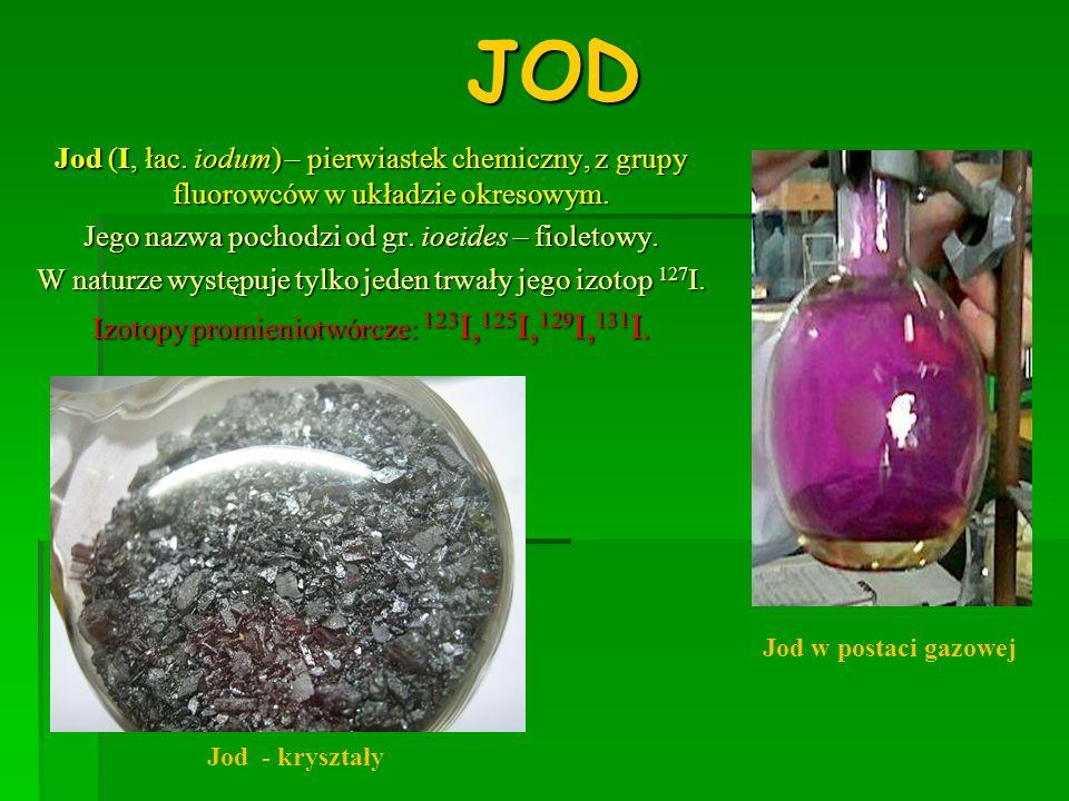 JODJod (I, łac. iodum) – pierwiastek chemiczny, z grupy fluorowców w układzie okresowym. Jego nazwa pochodzi od gr. ioeides – fioletowy.