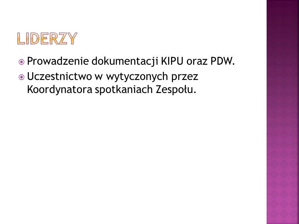liderzy Prowadzenie dokumentacji KIPU oraz PDW.