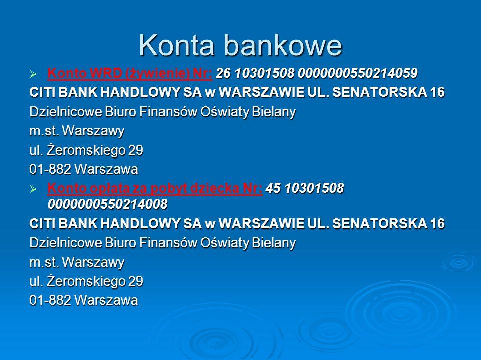 Konta bankowe Konto WRD (żywienie) Nr: 26 10301508 0000000550214059