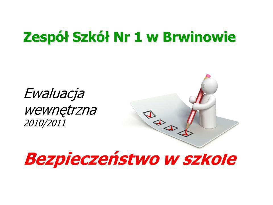 Zespół Szkół Nr 1 w Brwinowie Ewaluacja wewnętrzna 2010/2011 Bezpieczeństwo w szkole