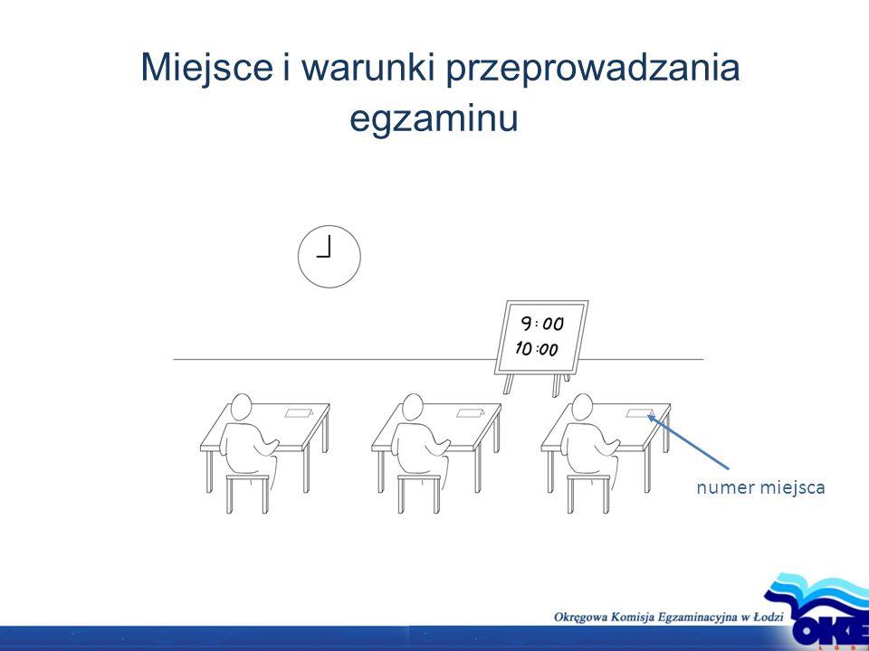 Miejsce i warunki przeprowadzania egzaminu