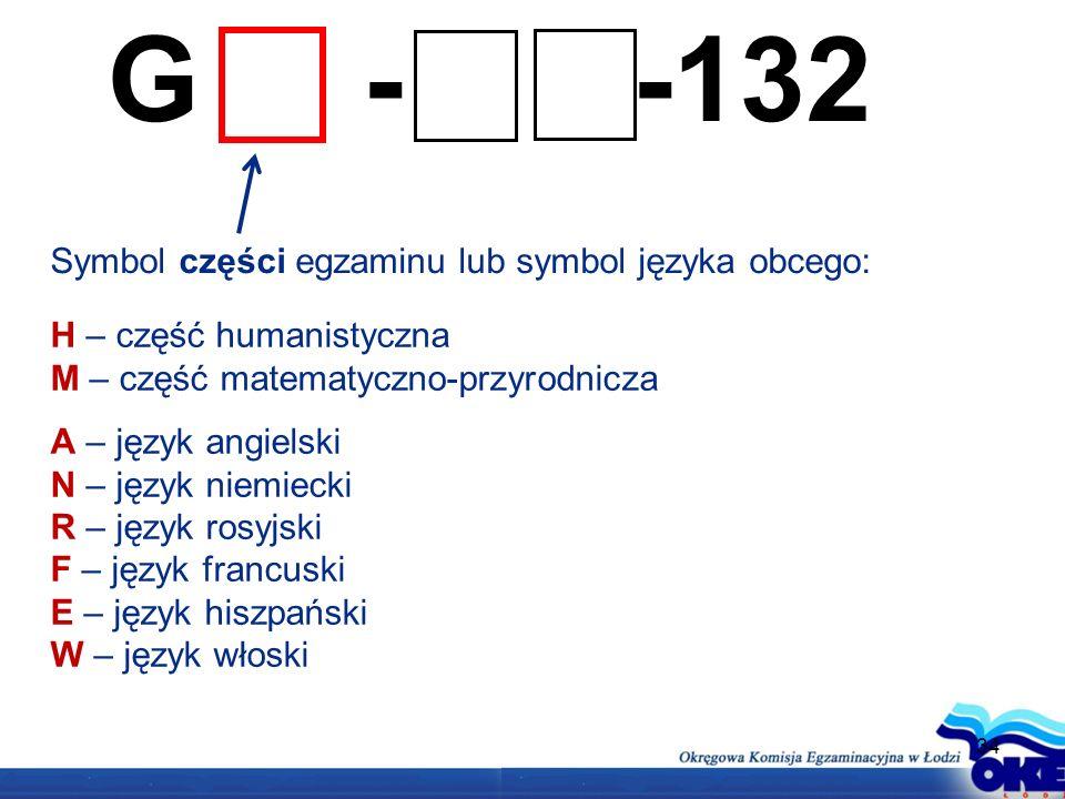 G - -132 Symbol części egzaminu lub symbol języka obcego: