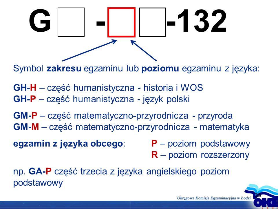 G - -132 Symbol zakresu egzaminu lub poziomu egzaminu z języka: