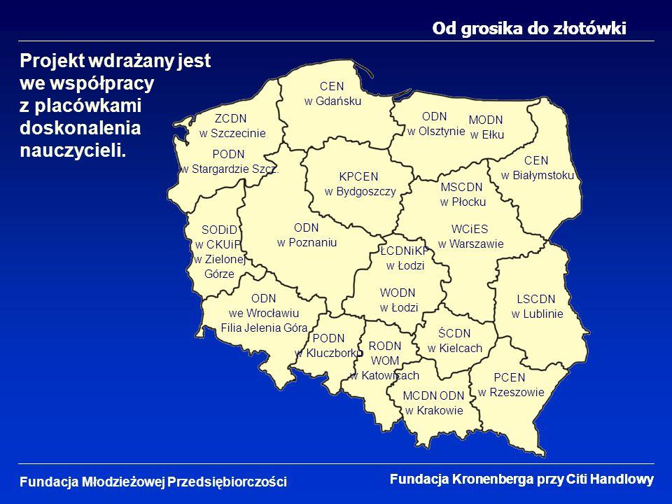 Od grosika do złotówki Projekt wdrażany jest we współpracy z placówkami doskonalenia nauczycieli.