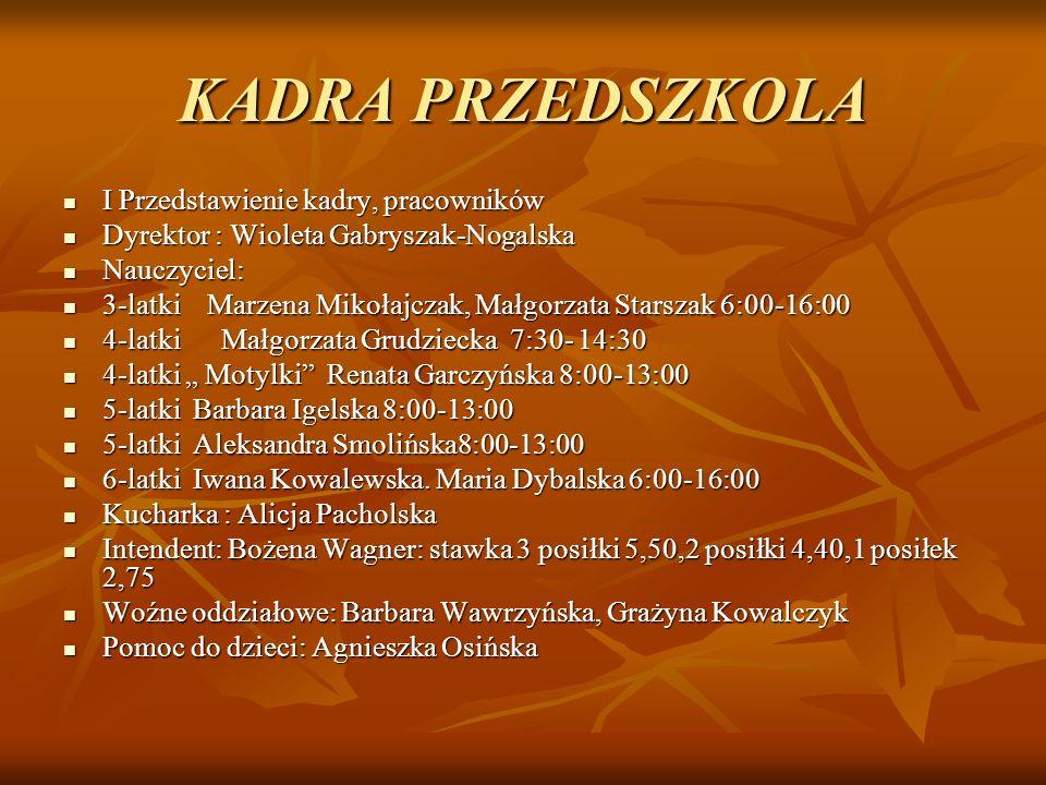 KADRA PRZEDSZKOLA I Przedstawienie kadry, pracowników