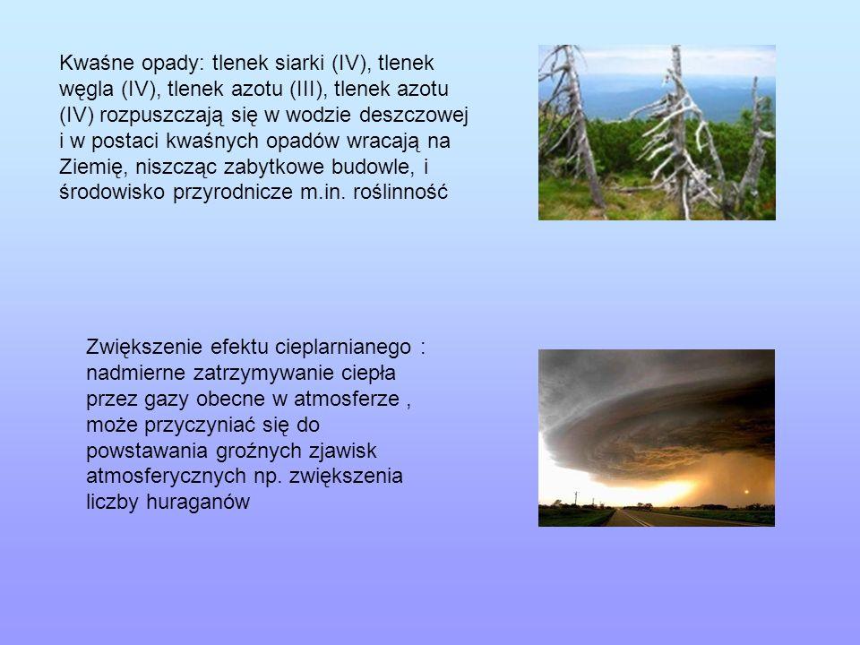 Kwaśne opady: tlenek siarki (IV), tlenek węgla (IV), tlenek azotu (III), tlenek azotu (IV) rozpuszczają się w wodzie deszczowej i w postaci kwaśnych opadów wracają na Ziemię, niszcząc zabytkowe budowle, i środowisko przyrodnicze m.in. roślinność
