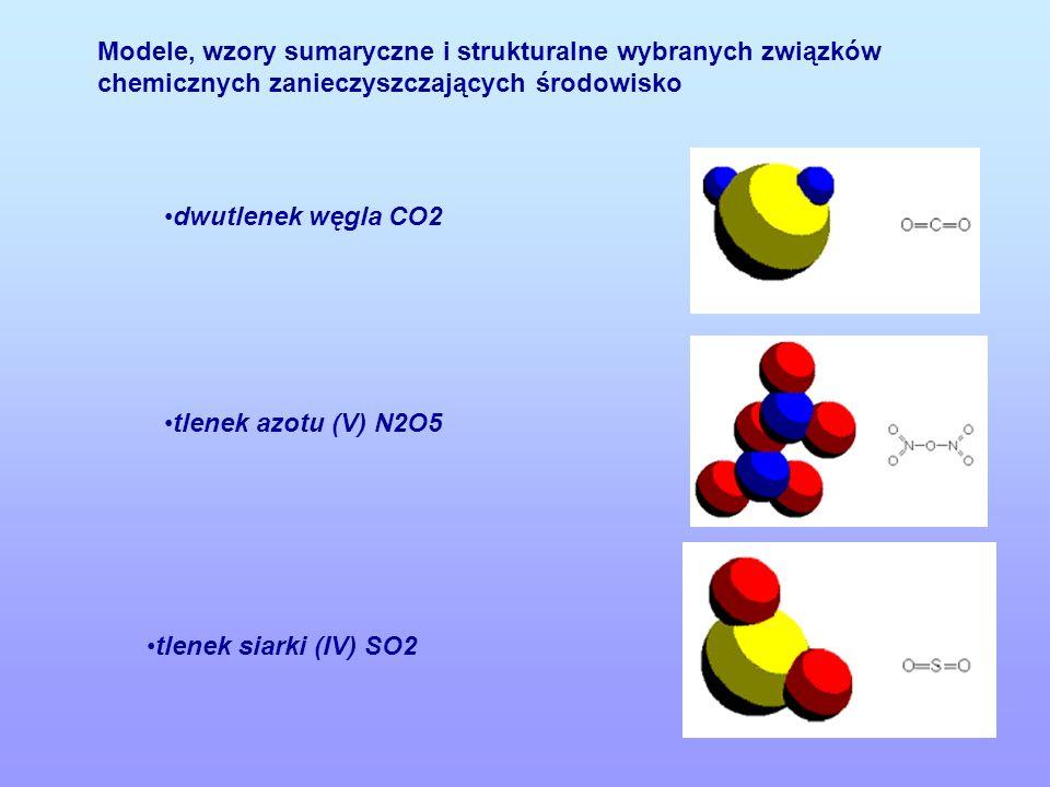 Modele, wzory sumaryczne i strukturalne wybranych związków chemicznych zanieczyszczających środowisko